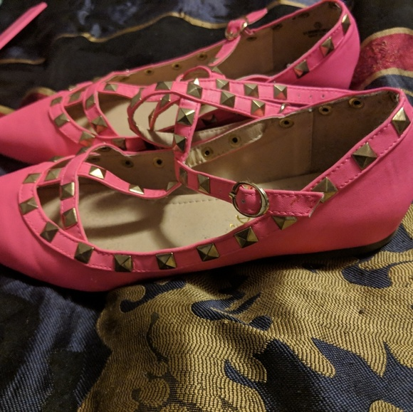 92bf310f5 Liliana Shoes - LILIANA Hot Pink Pyramid Stud Strappy Flats